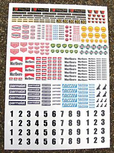 Slot Car Scalextric 1 32nd Vintage F1 Stickers Decals