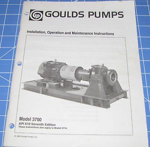 Goulds Pumps Model 3700 Installation Operation Maintenance Manual