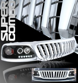 1999 2000 2001 2002 2003 Ford F150 Chrome Grille Black Dual Halo Headlights Kit