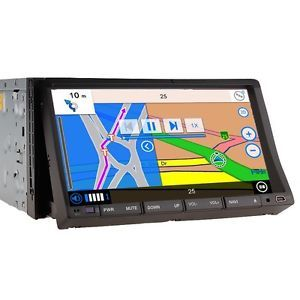 "GPS Navigation with Map iPod Bluetooth Radio Double DIN 7"" Car Stereo DVD Player"