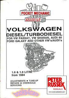 Volkswagen 1 6 1 9 Diesel Engine Shop Manual Service Repair Book Russek Overhaul