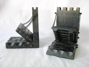 Vintage Hand Carved Wood Rustic Gothic Castle Draw Bridge Bookends Book Ends