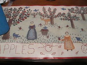 Folk Art Country Primitive Apple Orchard Wall Wallpaper Border EH00070 Red Trim