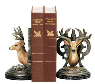 """Mounted Deer Bookends Rustic Lodge Log Cabin Hunting Buck Stag Book Ends 7"""""""