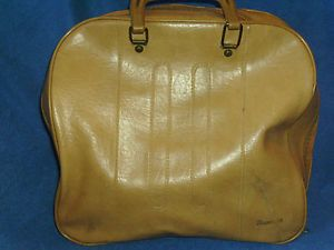 Vintage RARE Retro Brunswick Tan Bowling Ball Bag with Room for Shoes Towel