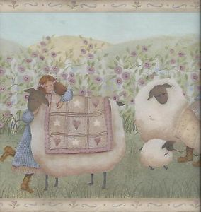 Country Girls Tending Sheep with Cats Beige Trim Wallpaper Border