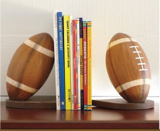 Pottery Barn Kids Sports Football Bookends Book Ends New Slightly Damaged