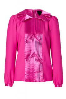 Hot Pink Ruffle Crepe Top by ANNA SUI