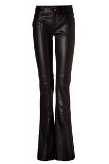 Black Flared Stretch Leather Pants by JITROIS