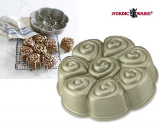 """Nordicware 8 Section Cinnamon Pull Apart 10 1 4"""" Cake Roll Pan Heavy Cast New"""