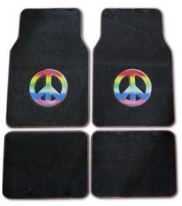 4pc Set Rainbow Peace Sign Symbol Hippie Floor Mats Universal Car SUV Truck Van