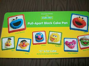 Williams Sonoma Sesame Street Pull Apart Block Cake Pan Elmo Big Bird Oscar