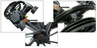 """145 PSI Win Cylinder Air Compressor Pump V 5 5HP Motor Aluminum 14 1 2"""" Flywheel"""