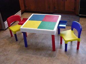 Tot Tutor Building Block Table for Lego Bricks Duplo Blocks w Drawers 2 Chairs