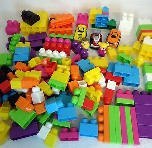 Lot 176 Pcs Mega Bloks Large Baby Big Size Building Blocks 7lbs Kids Cars