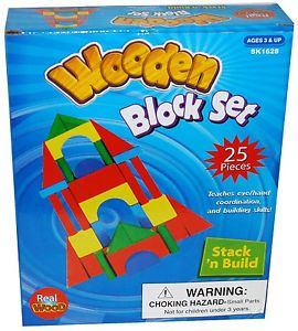 25 Piece Stack 'N Build Classic Wooden Color Building Blocks Set Wood Blocks Toy