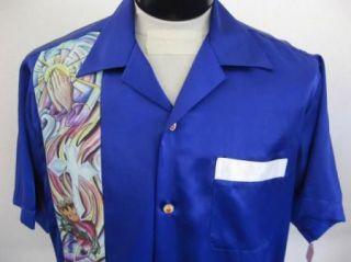 Rockabilly 50s Faith Tattoo Purple Bowling Shirt XXL 2X