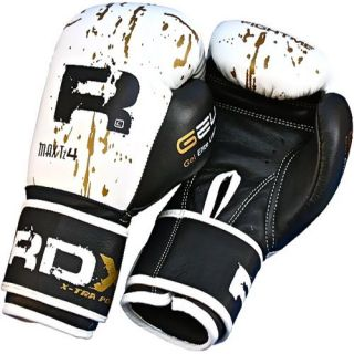 RDX Leather Gel Boxing Gloves Fight Punch Bag MMA Muay Thai Grappling Pad UFC K