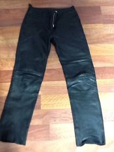 Mens Black Leather Pants 32x34 Levi's Used