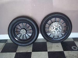Harley Davidson Sportster Dyna Black Wheels Rims w Tires Dual Disc '00 Later