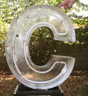 "Vtg Metal Marquee Channel Letter C 24"" Architectural Salvage Wall Art Industrial"
