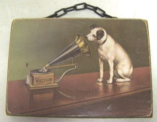 Vintage Old RCA Victor Record Nipper Dog Phonograph Radio Plaque Wood Sign
