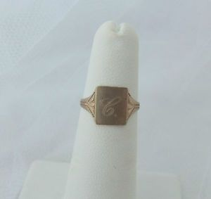 """Antique Ostby Barton Etched 10K Gold Hand Carved Initial Ring Letter""""C"""""""