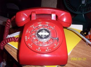Vintage Retro Western Electric Bell System Red Rotary Desk Phone Telephone 1970