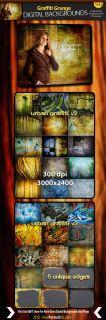 Urban Digital Backgrounds Grafitti Backdrops Bonus Photoshop Edges Templates V2
