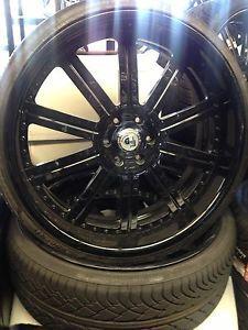 """26"""" inch asanti 134 Wheels Cadillac Escalade Tahoe Silverado Denali Tires Black"""
