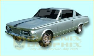 1967 Plymouth Barracuda Over Roof Stencil or Vinyl Decals Stripes Kit