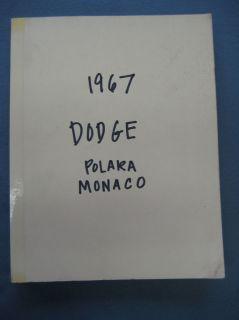 Original 1967 67 Dodge Polara Monaco Service Manual