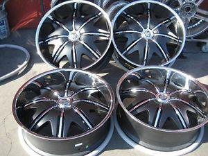 "26"" Dub Doggy Style Black Wheels Rims and Tires Package Gianna Lexani asanti MHT"