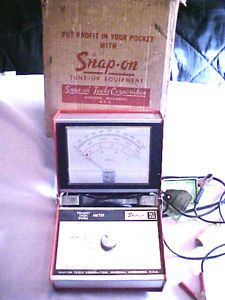 Vintage Snap on Tools Primary Tach Dwell Meter MT418 ORG Box Service Record