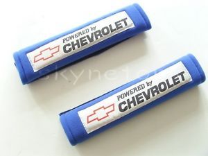 Power by Chevrolet Logo Blue Seat Belt Shoulder Pads Cover Chevy Camaro Cruze