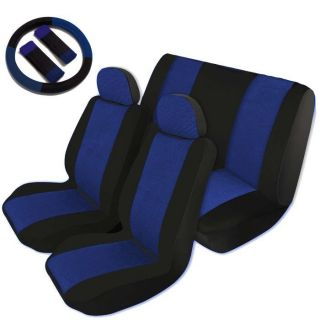 Two Tone Car Seat Covers Comfort Cloth Black Blue Front Rear Full Set CS