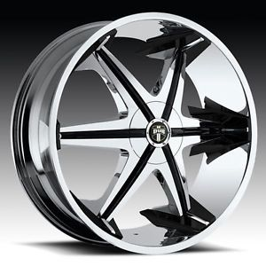 "22"" Dub Big Homie with Shooz Wheel Tire Package 22x9 5 Chrome Rims Tires"