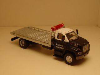 Boley HO 1 87th Scale GMC Topkick Police Garage Car Hauler Tilt Bed Rubber Tires
