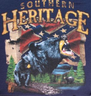 Hunting Tshirt Southern Heritage Bear Confederate Flag Rebel Redneck Dixie