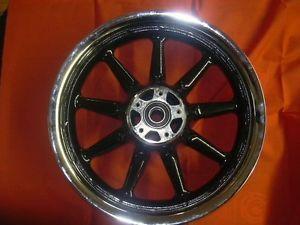 "Harley Davidson 16"" 9 Spoke Dual Disk Front Wheel Chrome Black Powder Coat"