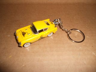 1950's Chevrolet Corvette Corvair Diecast Model Toy Car Keychain Keyring Yellow