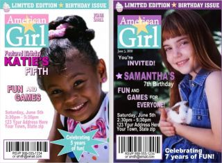 American Girl Birthday Invitations and Favors