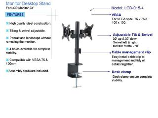 Dual LCD Monitors Desk Table Mount Height and Angle Adjustable