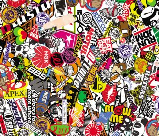 "30"" x 20"" Sticker Bomb Graffiti Wrap Sheet JDM Honda Decal"