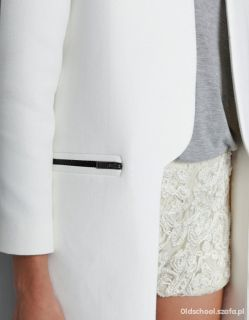 Zara BNWT White Frock Coat Long Zips BLOGGER Sold Out Vintage Size L EU 40