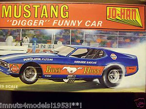"Super Nice Vintage Jo Han Mustang ""Digger"" Funny Car Drag Racing Model Car Kit S"