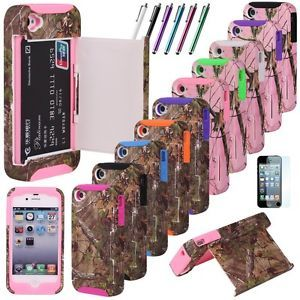 Real Tree Camo Credit Card Hybrid Hard Shell Stand Case Cover for iPhone 4 4S 4G