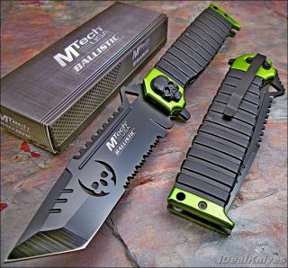 MTech Ballistic Toxic Green Sawback Tanto Skull Spring Assisted Opening Knife