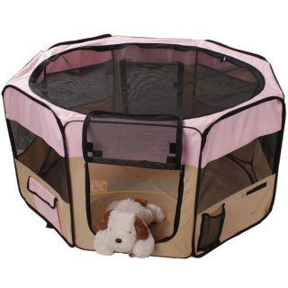 "New 48"" Large 2 Door Playpen Pet Puppy Dog Cat Tent Crate Exercise Kennel Pink"