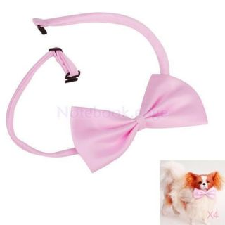 4X Pink Pet Dog Cat Adjust Bow Tie Necktie Collar for Suit Formal Wear Costume